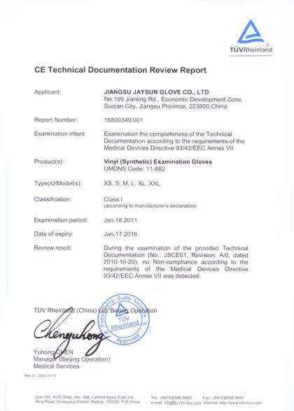 Vinyl Exam Gloves Manufacturer Qc System